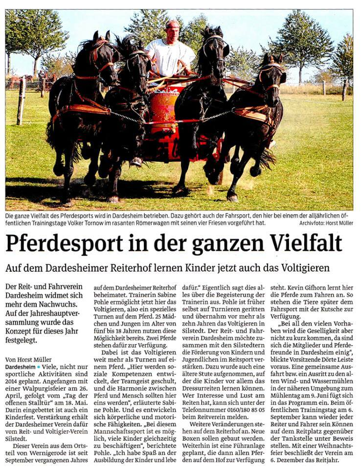 Voltigierer finden neue Heimat in Dardesheim